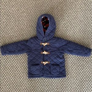 Navy Quilted Fox Print Lined Jacket